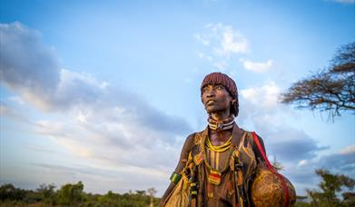Traditionally dressed Hamer woman in Ethiopia's South Omo region used to as part of Ethiopia's marketing materials.