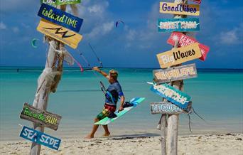 Kitesurfing at Fisherman's Huts Noord Aruba