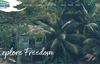 Sierra Leone National Tourist Board website Explore Freedom branding