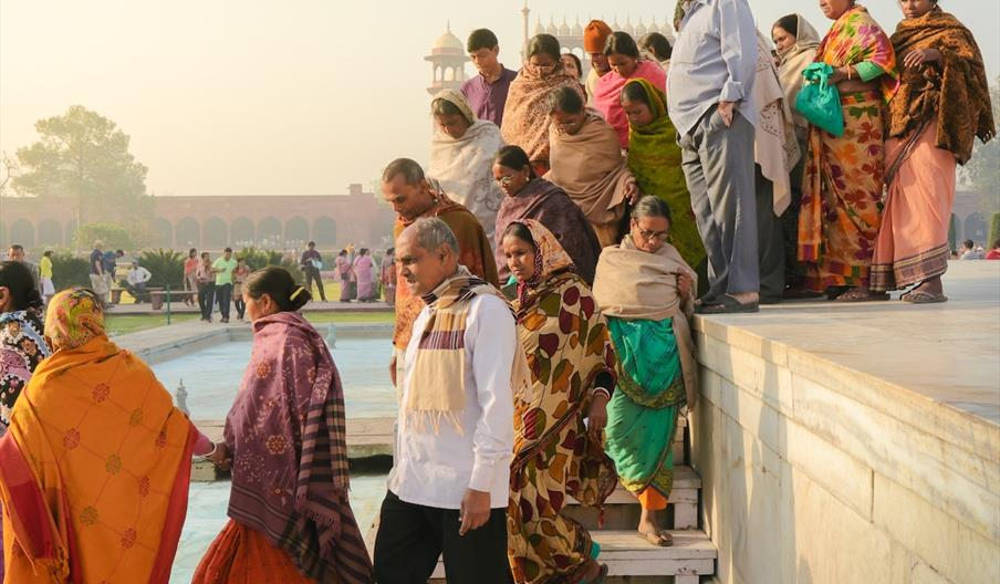 Indian families at the Taj Mahal, India