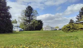 camping in a field