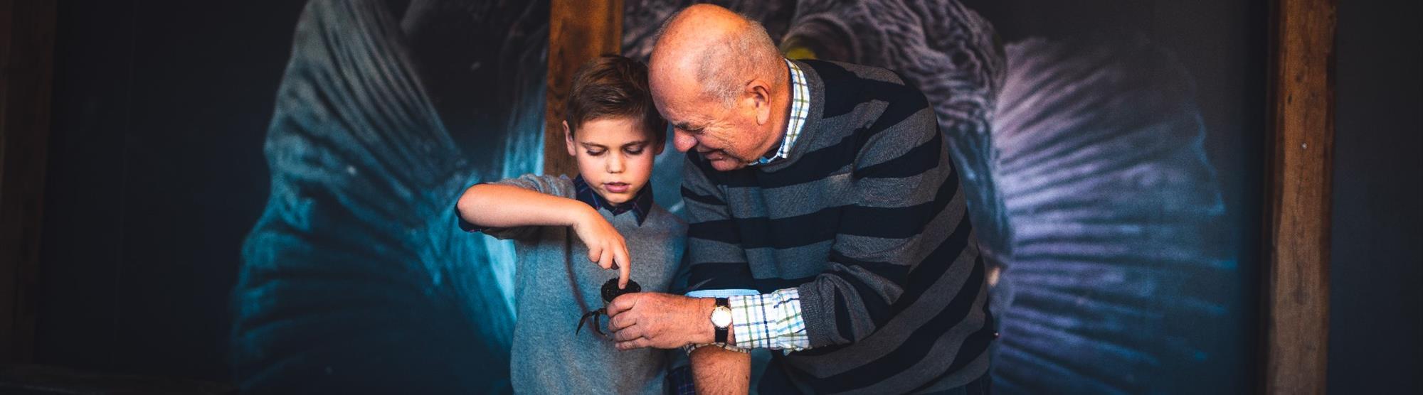 Grandfather and boy at Bergen Aquarium