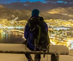 Winter in Bergen and Mount Fløyen in snow