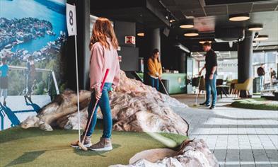 Minigolf at Vestkanten shopping mall in Bergen