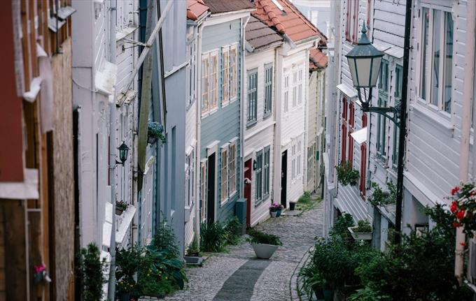 Charming wooden houses in the Nordnes area of Bergen