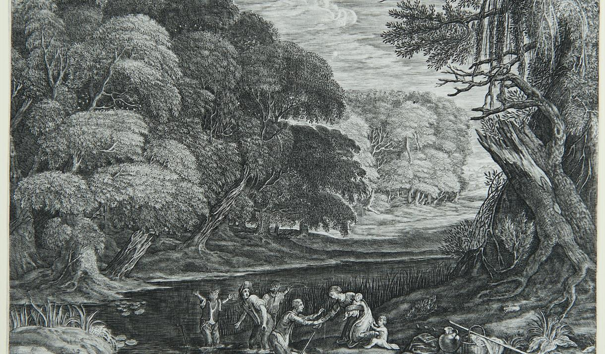 An intricately detailed engraving; huge trees overhang a river in which figures are half-transformed to frogs.
