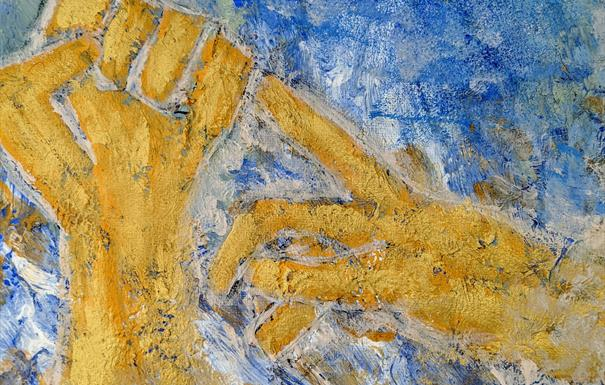 Vibrant artwork created with paints depicting two golden hands against a blue backdrop.