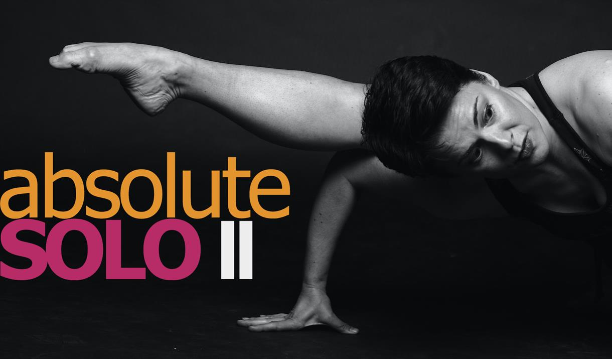 A banner with an image of Rosie Kay dancing, accompanied by the text 'Absolute Solo II'.