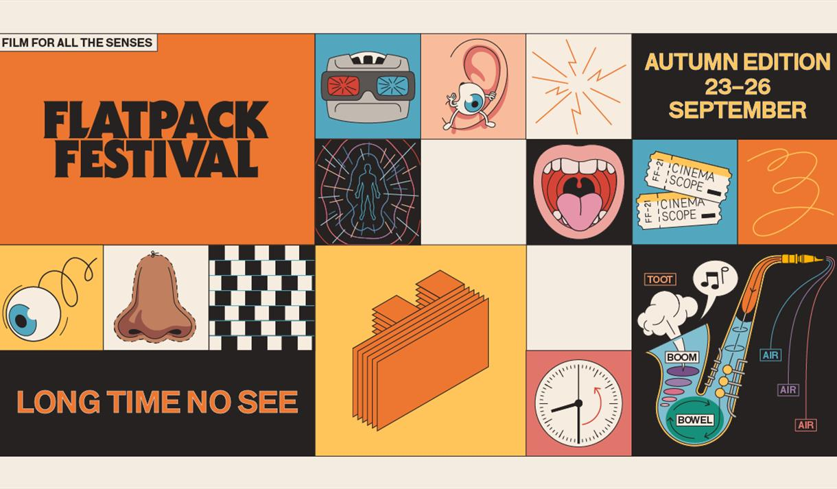 Selection of offbeat illustrations in grid format, including cinema tickets, eye crawling out of an ear, saxaphone, nose, viewmaster. Text reads Flatp