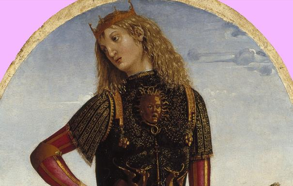 Top section of 'Alexander the Great' painting - he wears a gold crown and black, gold and red clothes against a blue sky.