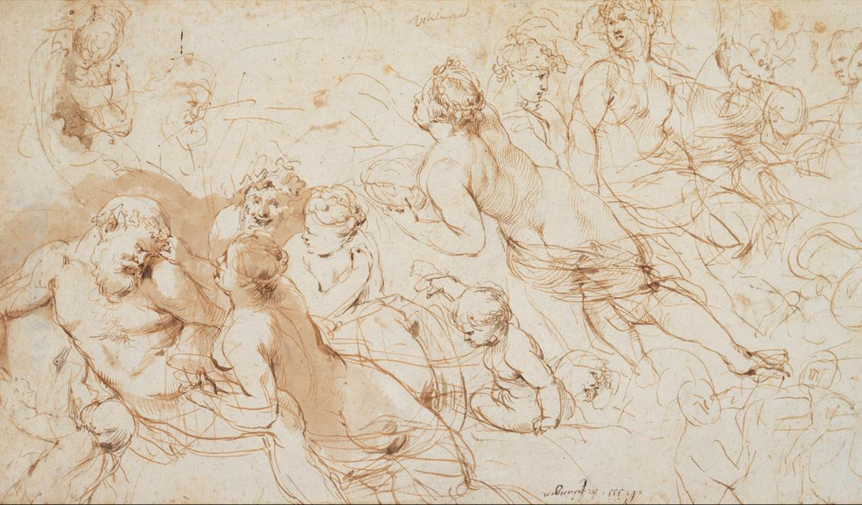 Rubens' drawing 'Silenus and Aegle'. Expressive figures are sketched across the page, drawn in overlapping lines.