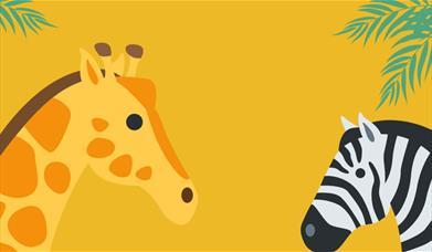 An illustration of a giraffe and a zebra against a dark yellow background, with green leaves in the top left and right corners.