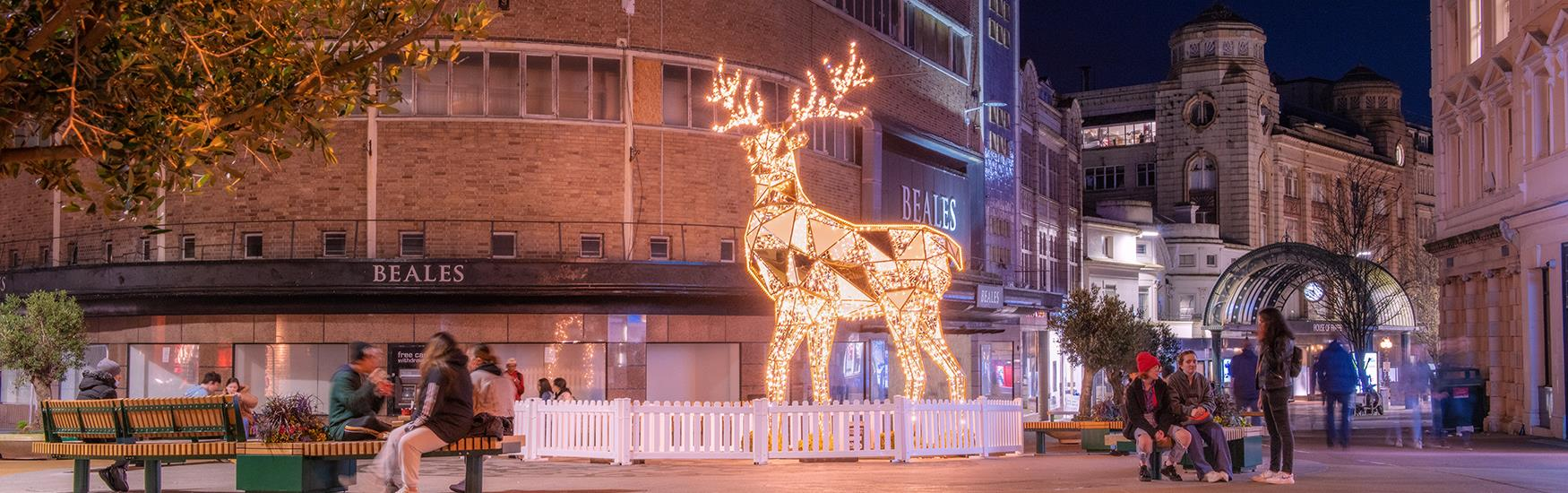 Sparkling reindeer in Beale place at night with street decorations