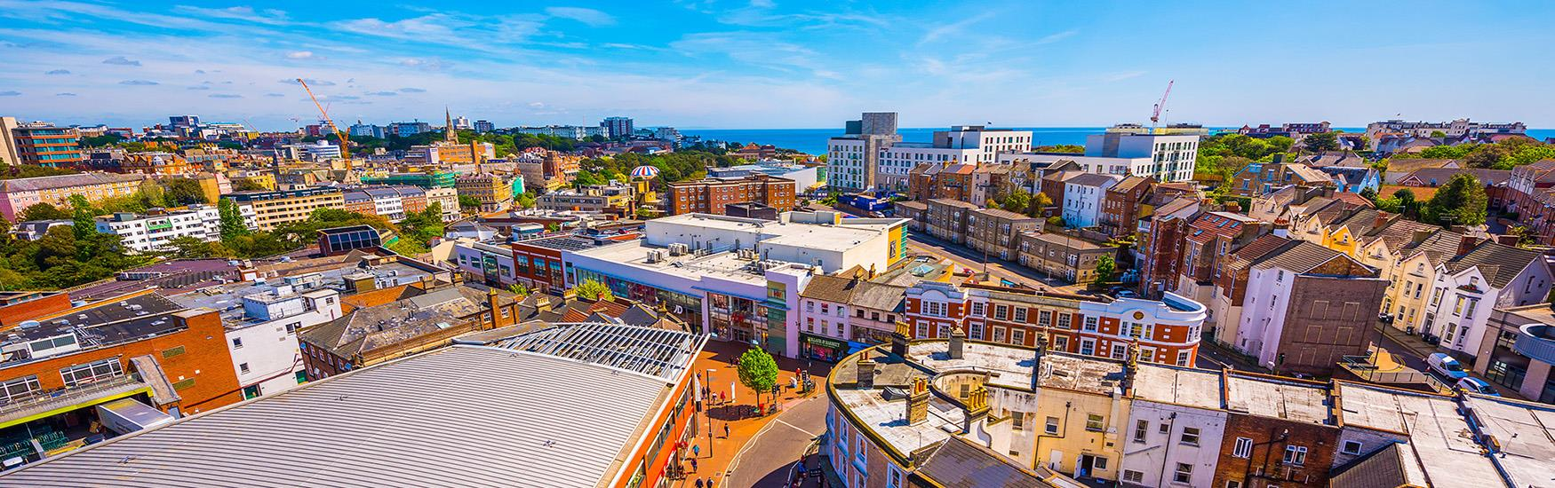 Beautiful shot of Bournemouth town centre taken from an elevated position show casing the destination