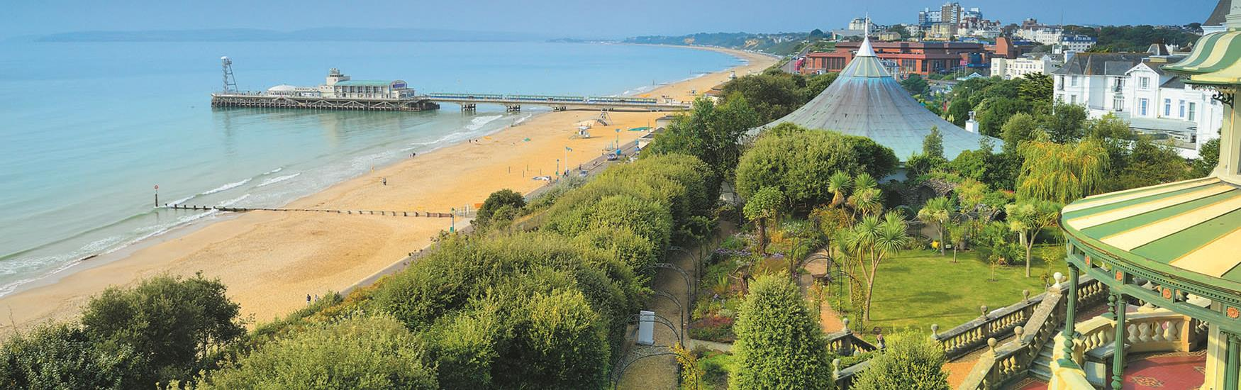 Bournemouth Pier from the Russell-Cotes garden in spring time