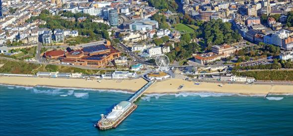 An aerial view of the Bournemouth town center, encompassing the glorious beach, big wheel and entertainment complex at BH2.