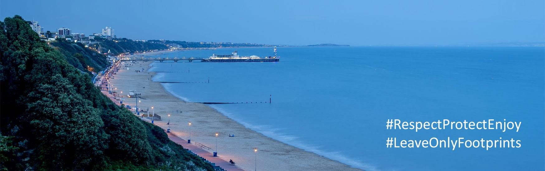 Bournemouth Bay at dusk with text Respect, Protect, Enjoy.