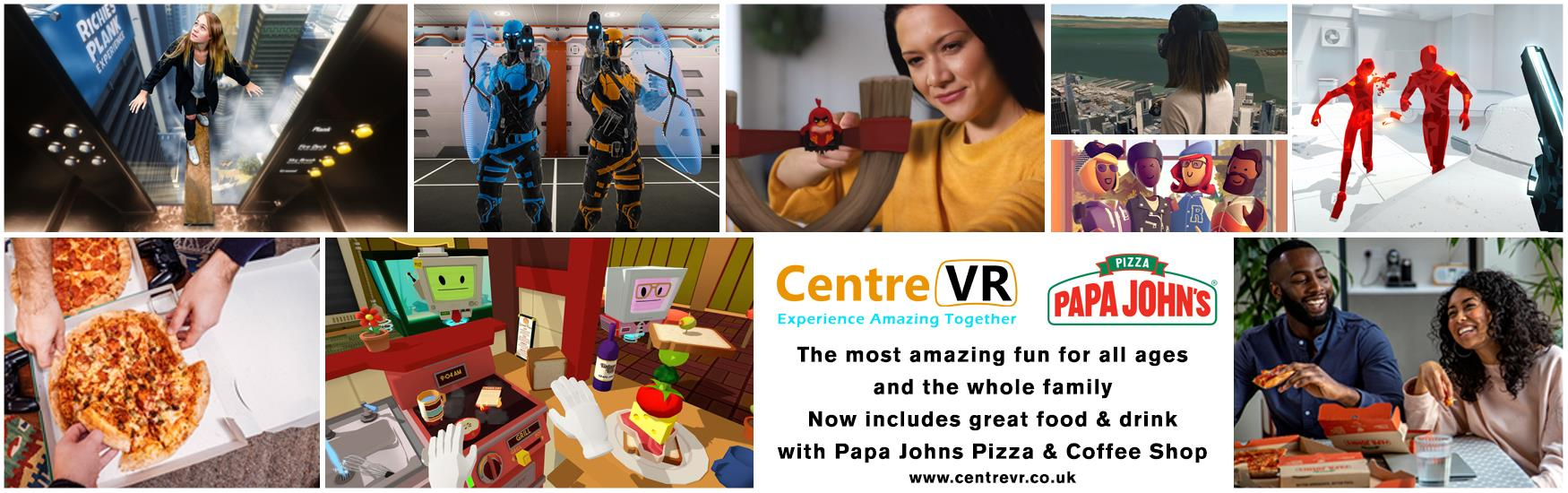 Collage of images showing the experience at Centre VR virtual reality including a pizza promotion with papa johns
