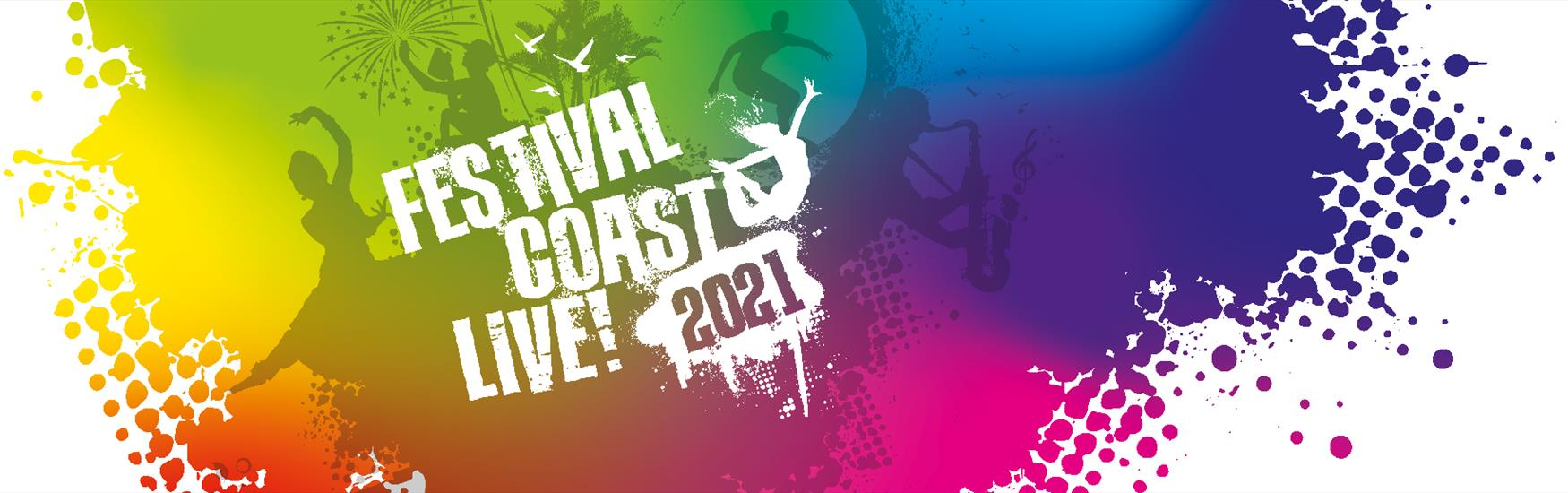 Festival Coast Live 2021 website banner with a mixture of bright colours in the background