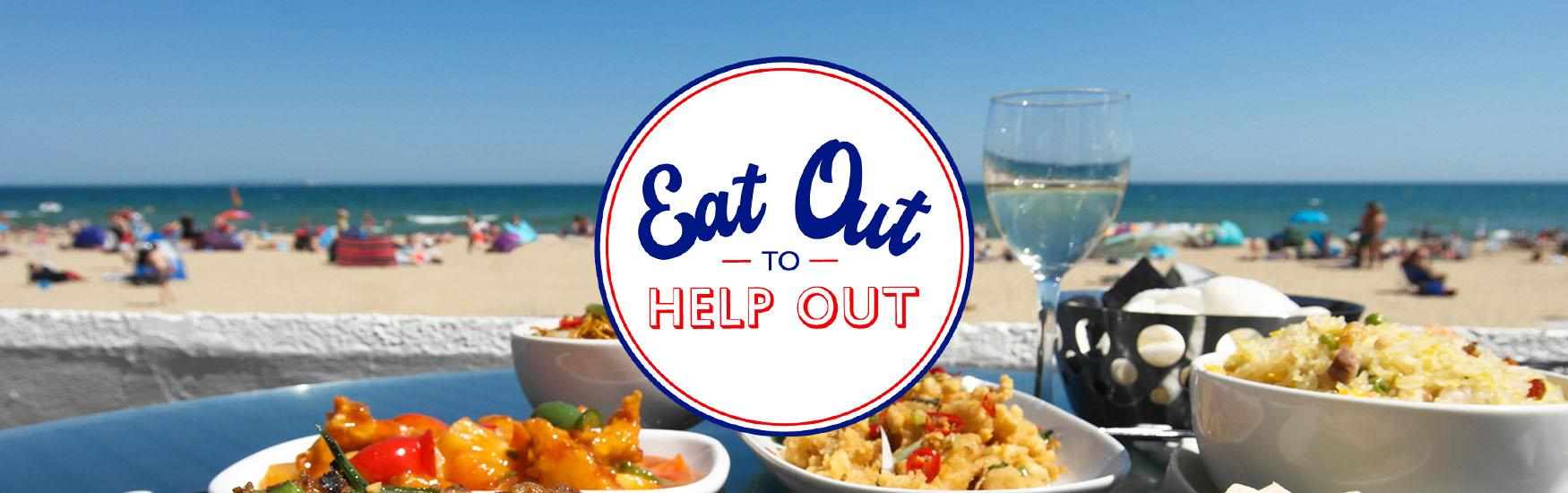 Eat out to help out header image with logo a delicious food in the background