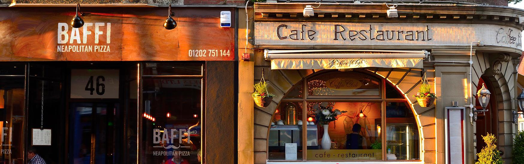 Sun set over two restaurants in Westbourne on a warm summers evening