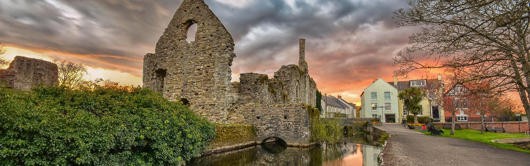 Beautiful image in Christchurch showing the River and Norman House Ruins