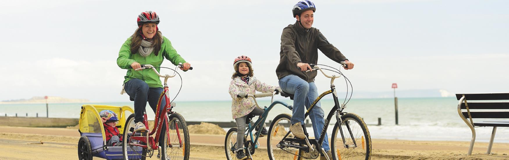 Cycling along Bournemouth Promenade