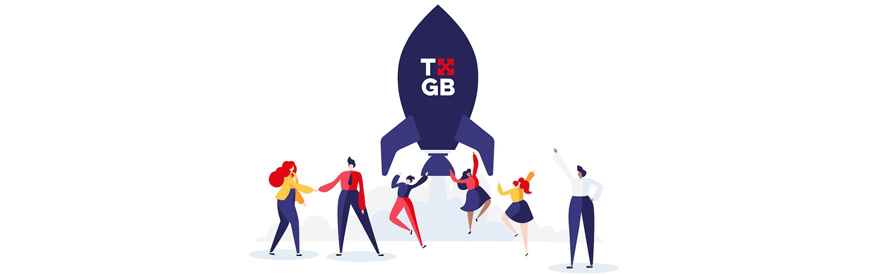 Six human cartoon figures celebrating the take-off of a blue rocket with the TXGB logo on.