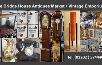 A collage of images from the emporium with the text: 'Welcome to The Bridge House Antiques Market - Vintage Emporium - tel: (01202) 574440