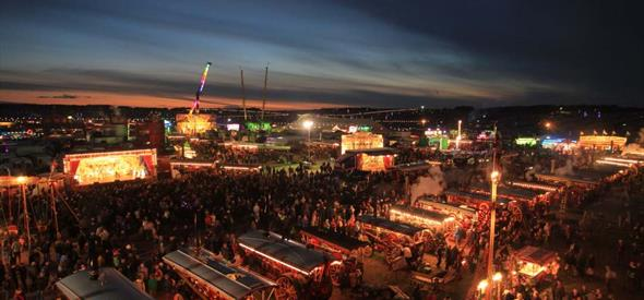 The Great Dorset Steam Fair National Heritage Show at night