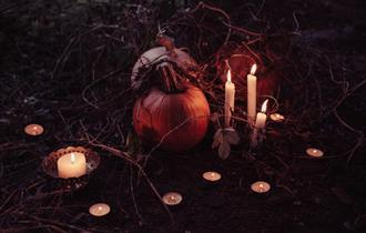 Halloween Evening with pumpkin and candles