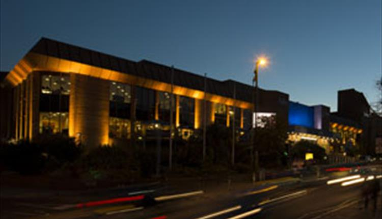 Outside of the BIC at night