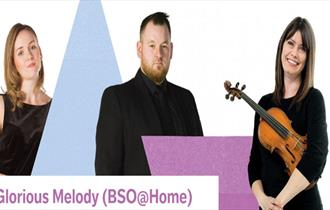 Three Orchestra members stand smartly dressed in black clothing, one holding a a violin under arm. Pink and blue logos.