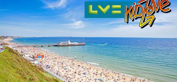 Bournemouth beach and pier shot  with the lv kidzone logo overlaid on top