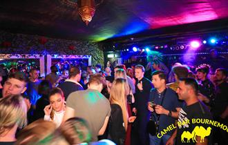 Crowds of people enjoying their evening at the Camel nightclub