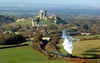 Train past Corfe Castle