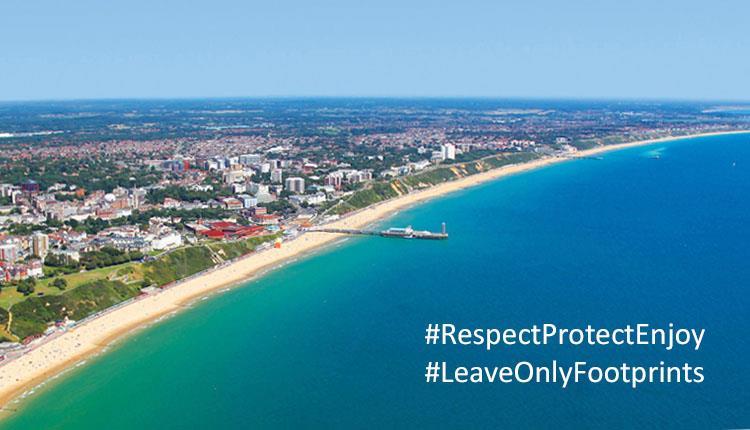 Bournemouth beach with message overlay: #RespectProtectEnjoy #LeaveOnlyFootprints