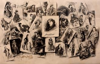 A sepia tinted photo with loads of older drawings of people in black and white