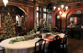 Dining room in the russell-cotes museum at christmas