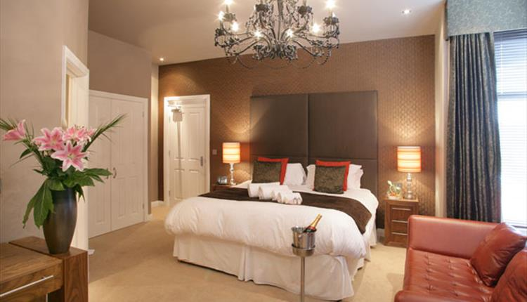 Modern style double room with a champagne welcome