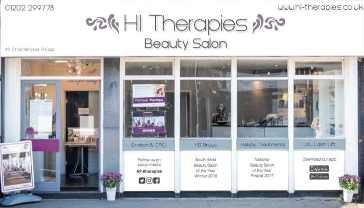 the front of a beauty salon called Hi Therapies.