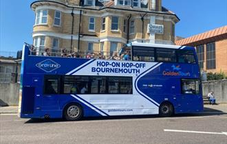 Golden Tours Sightseeing bus at Bournemouth seafront stop