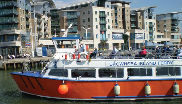 The Greenslade Boat that routes to Brownsea Island in front of Poole Quay