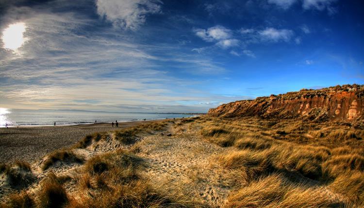 sandy beach, beach, blue sky, cliff side, cliffs, beach grass