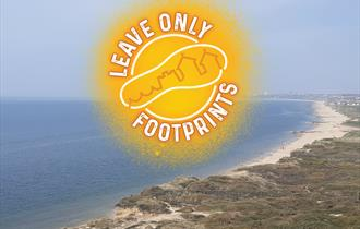 Yellow footprint logo with an aerial view of the beach
