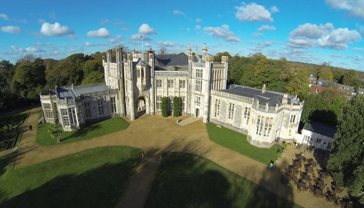 Aerial shot of the illustrious castle.