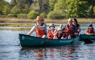 family out on a canoe