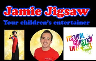 Bright red & blue logo with pictures of Jamie and FCL! logo