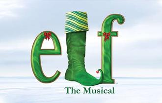 Icy, cloudy background, with 'elf - The Musical' in the forefront