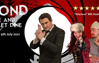 Bond: Live And Let Dine poster with man pretending to hold a gun with his hand